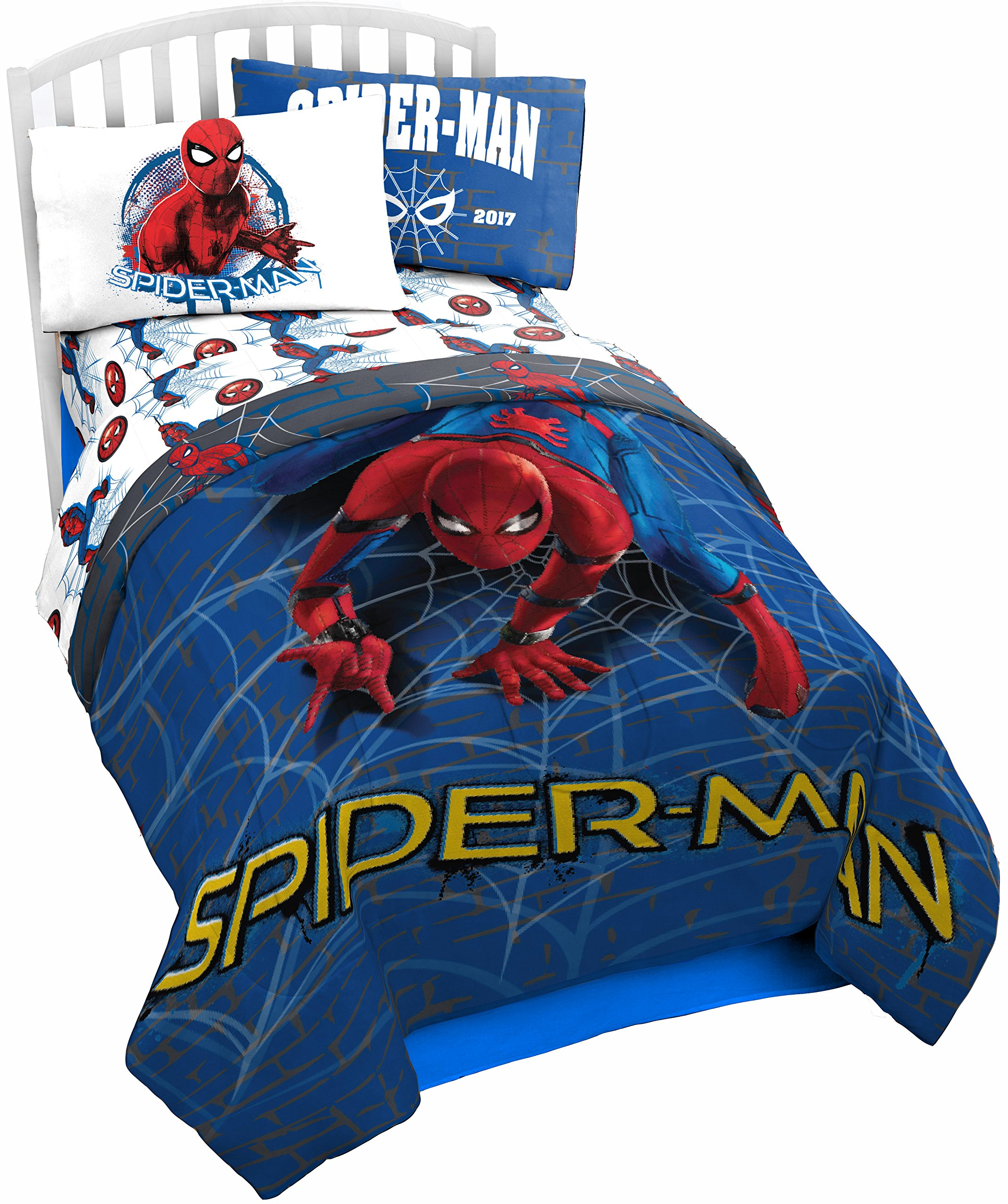 Marvel Spider Man Wall Crawler Twin Comforter - Super Soft Kids Reversible Bedding features Spiderman - Fade Resistant Polyester Microfiber Fill (Official Product)