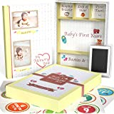 Little Growers Baby Memory Book WITH Keepsake Box, Baby Milestone Stickers AND Baby Footprint Kit - First 5 Years New Baby Sc