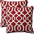 Pillow Perfect Indoor/Outdoor New Geo Corded Throw Pillow, 18.5-Inch, Red, Set of 2