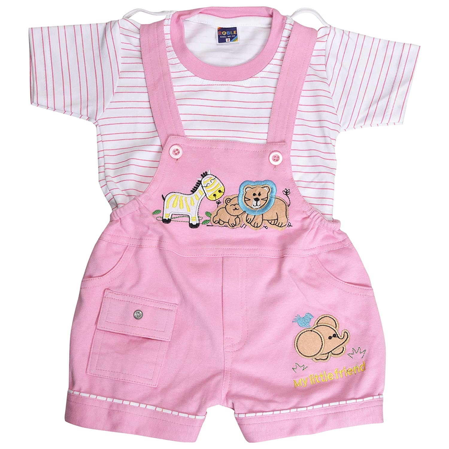 2a147f846ae Roble Party Wear Romper Baba Suit Dungree Jumpsuit Pink Outfits For Newbron  Babies Boys   Girls 6 Months -2 Years  Amazon.in  Clothing   Accessories