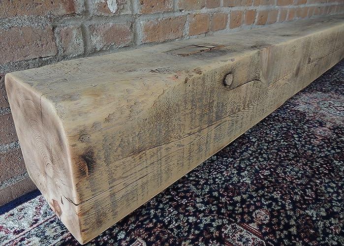 fireplace mantel 75 x 8 x 8 reclaimed barn beam rustic - Barn Beam Mantel
