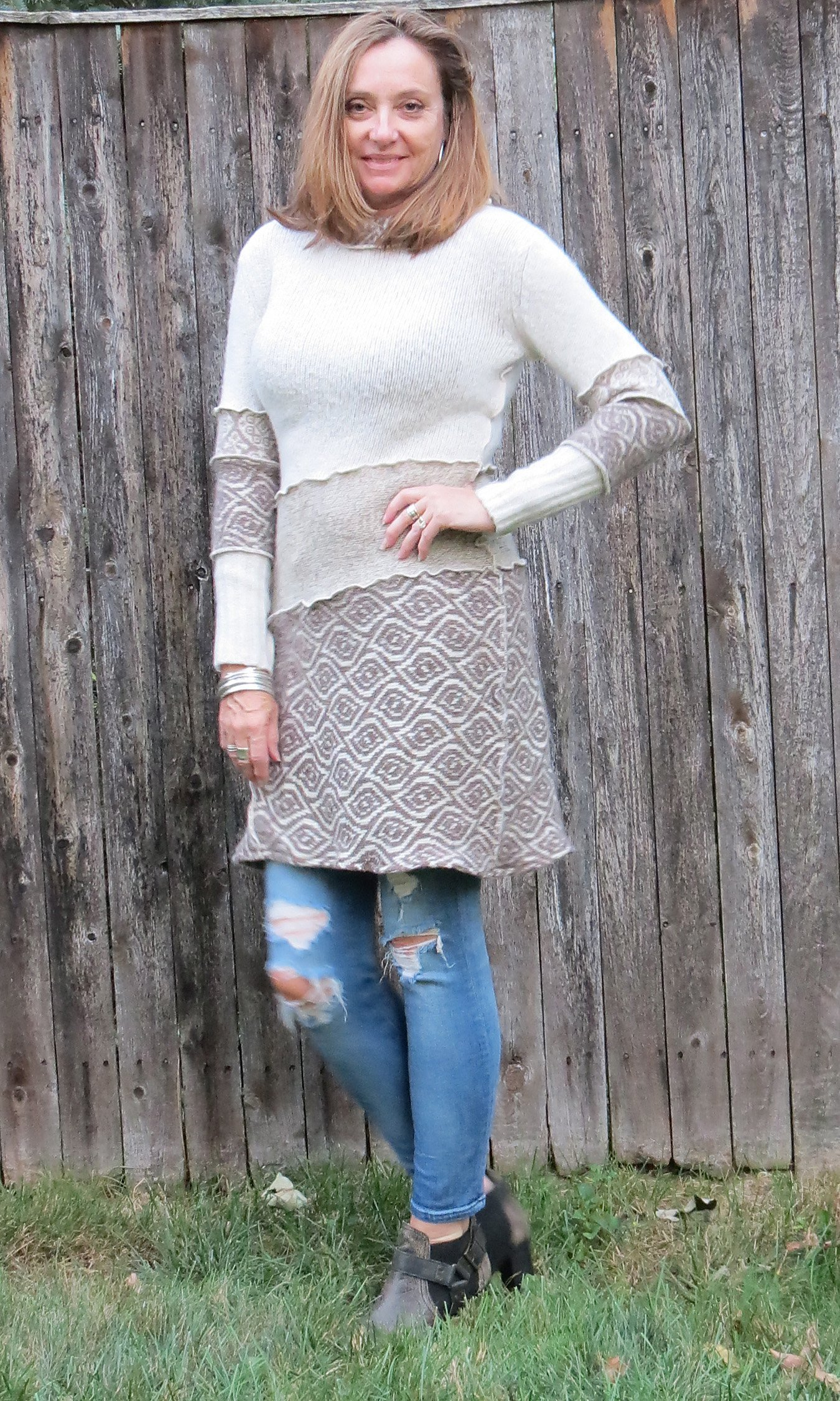 Creams N Browns Alpaca Sweater Dress