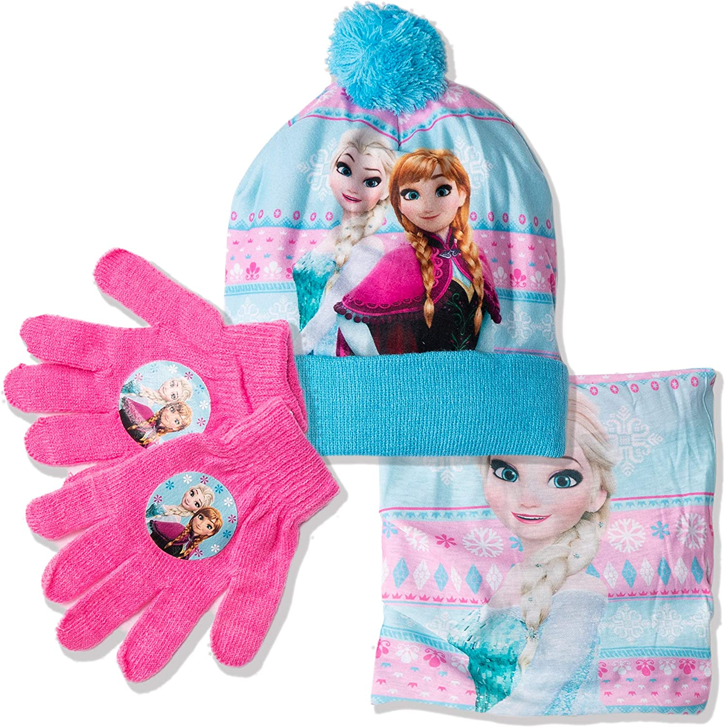 Snood and Gloves Purple Anna Elsa Characters 52 Disney Orginal Frozen Girls Warm Winter 3 Pieces Set of Bobble Style Hat with Pom Pom