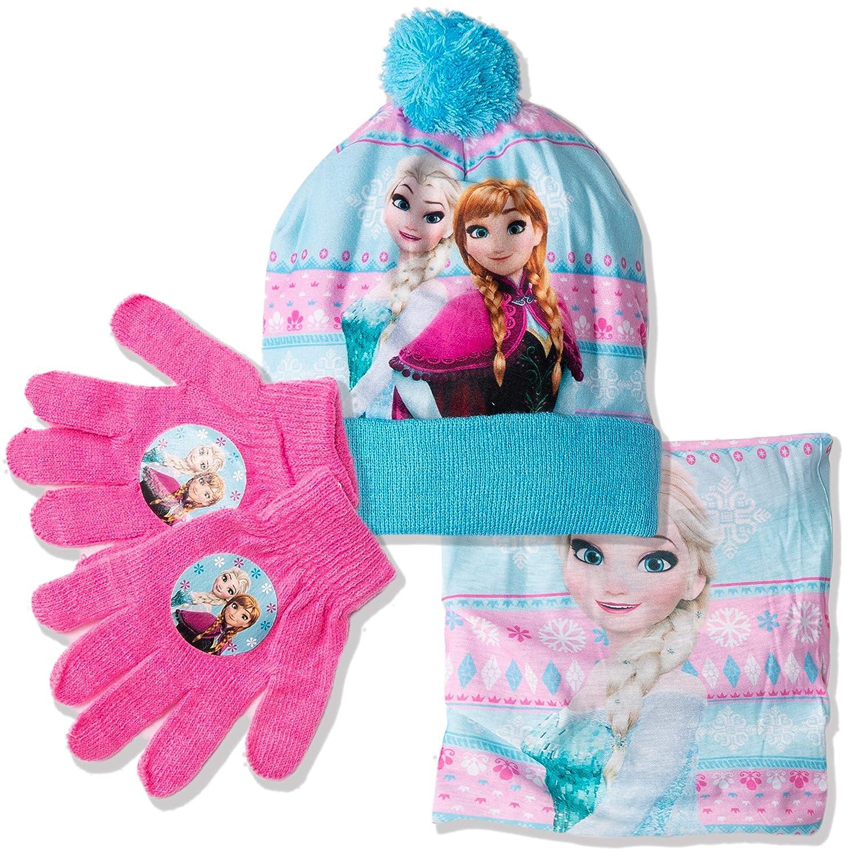 Personaggi Elsa 52 Disney Original Frozen Ragazze Inverno Caldo 3 Pezzi Set Cappello Stile Bobble con Pom Pom Pom Snood e Guanti Viola Anna