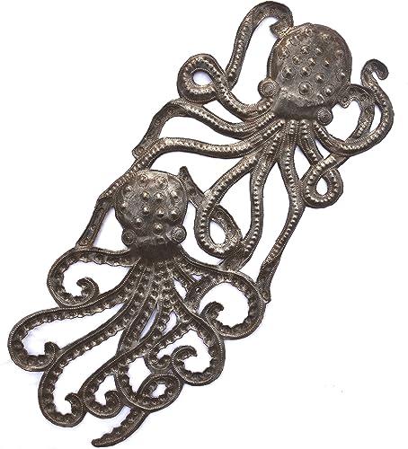 Handmade Octopus, Recycled Metal Ocean Wall Art, Haiti Steel Drum Indoor Outdoor 7.5 x 17.25 Inches