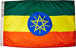 product image for Annin Flagmakers Model 192540 Ethiopia Flag Nylon SolarGuard NYL-Glo, 2x3 ft, 100% Made in USA to Official United Nations Design Specifications