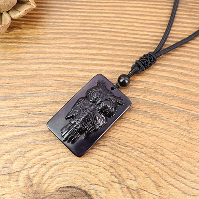 obsidian pendant necklace natural stone moon support base silver metal adjustable Victorian old vintage magical gift cat idea
