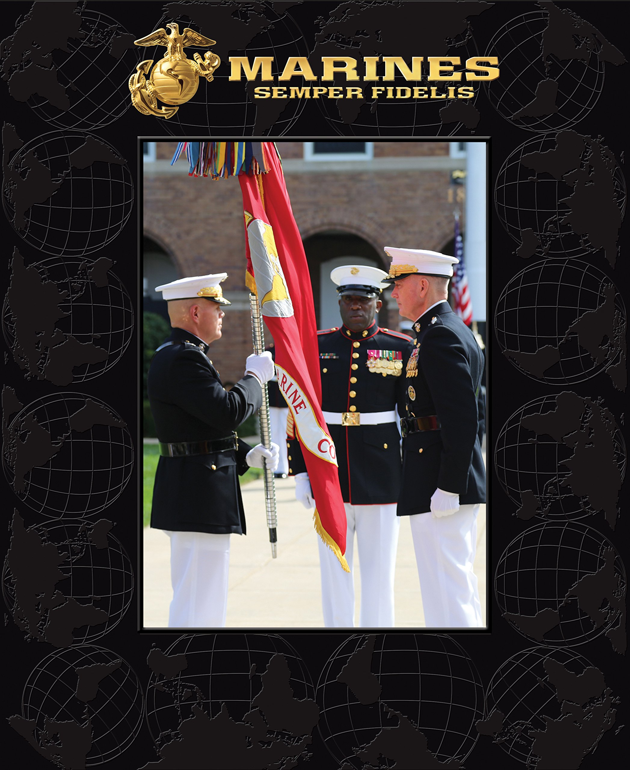 Church Hill Classics US Marine Corps Photo Frame - 5 x 7 Vertical Photo - Features Raised Pattern on Frame