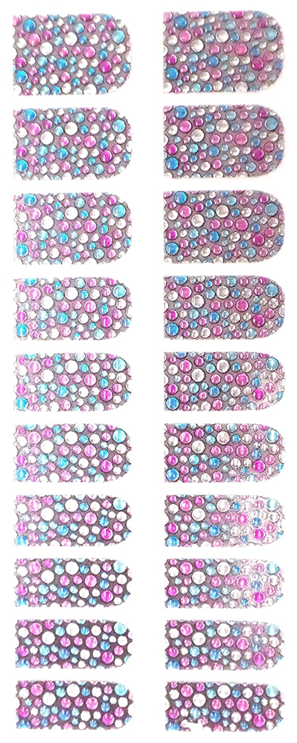 Bling Nail Foils, Pack of 20 wraps, Pink Blue Clear Dots Pink Tease