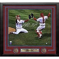 "$469 » Brad Lidge & Carlos Ruiz Phillies 2008 Last Out Autographed 16"" x 20"" Framed Baseball Championship Photo - JSA Authenticated"