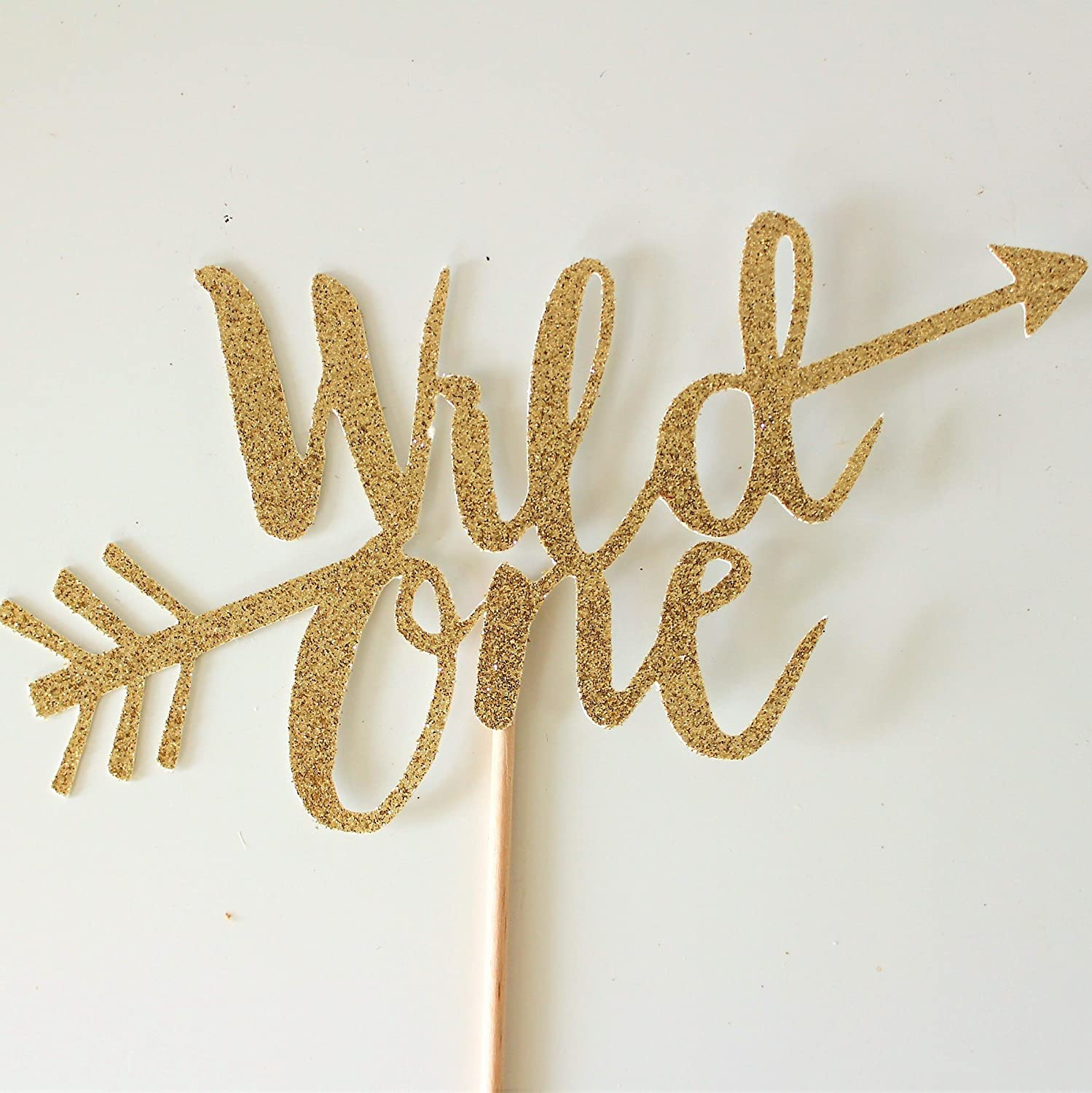 Gold Glitter Wild One Cake Topper, Gold Boho Tribal First Birthday, 1st Birthday Decorations, Arrows, Boys