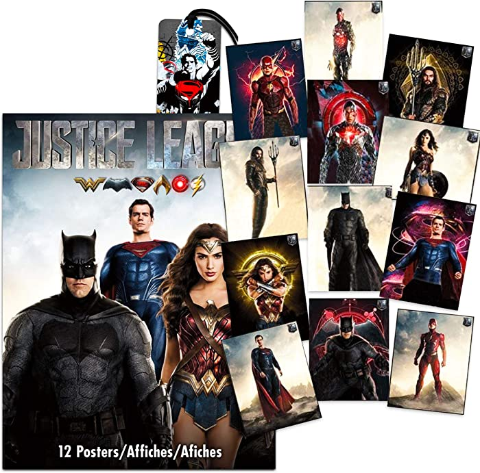 DC Comics Justice League Poster Book Super Set ~ Bundle Includes 12 Deluxe Posters Featuring Superman, Batman, Wonder Woman, and More with Bookmark (Justice League Party Decorations Room Decor)