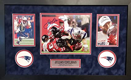 316ad30db14 Julian Edelman New England Patriots Signed Autograph Custom Framed 16x26  Suede Mat The Catch Photo Photograph