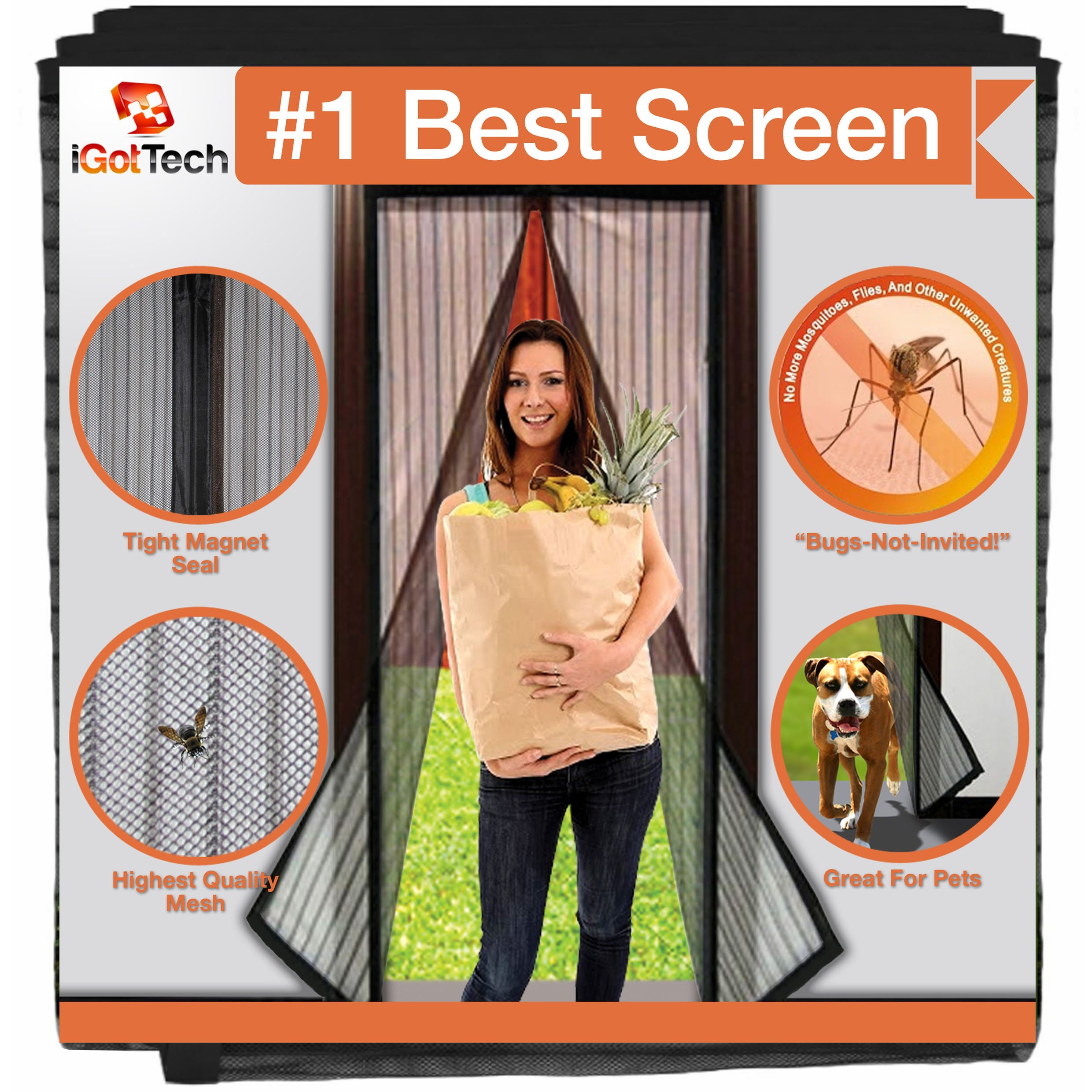 Magnetic Screen Door, Full Frame Seal. Fits Door Openings up to 34''x82'' MAX