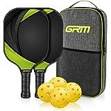 GRM Racket, Graphite Pickleball Paddle Set, Lightweight Pickleball Racquet Pickle-Ball Equipment for Men and Women, 2 Racket
