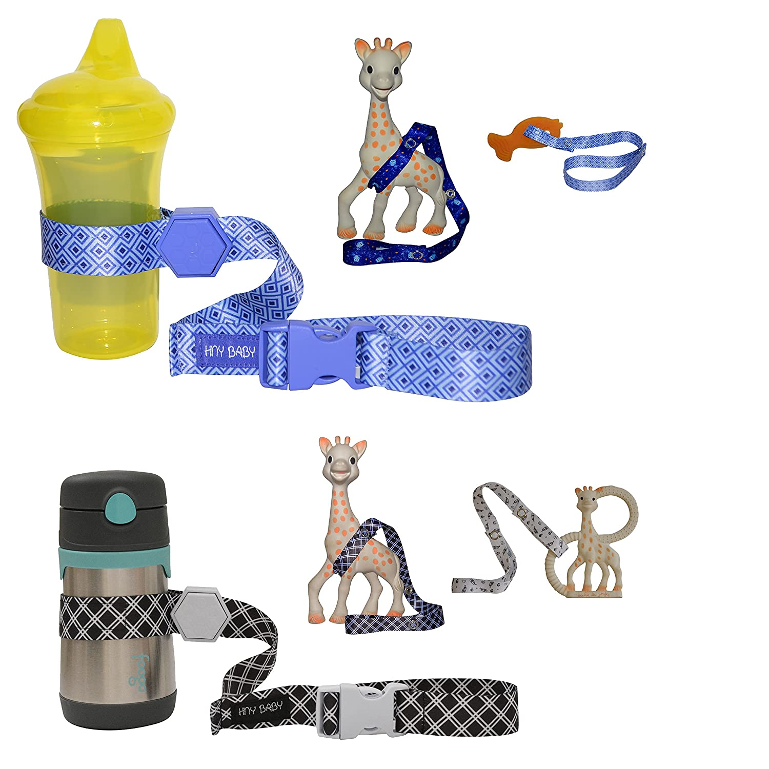 Blue//Yellow HnyBaby Sippy Cup Strap for Baby Bottle and Toy Strap 4 Pack Sippy Cup Holder with Rubber Grip for Stroller /& Highchair