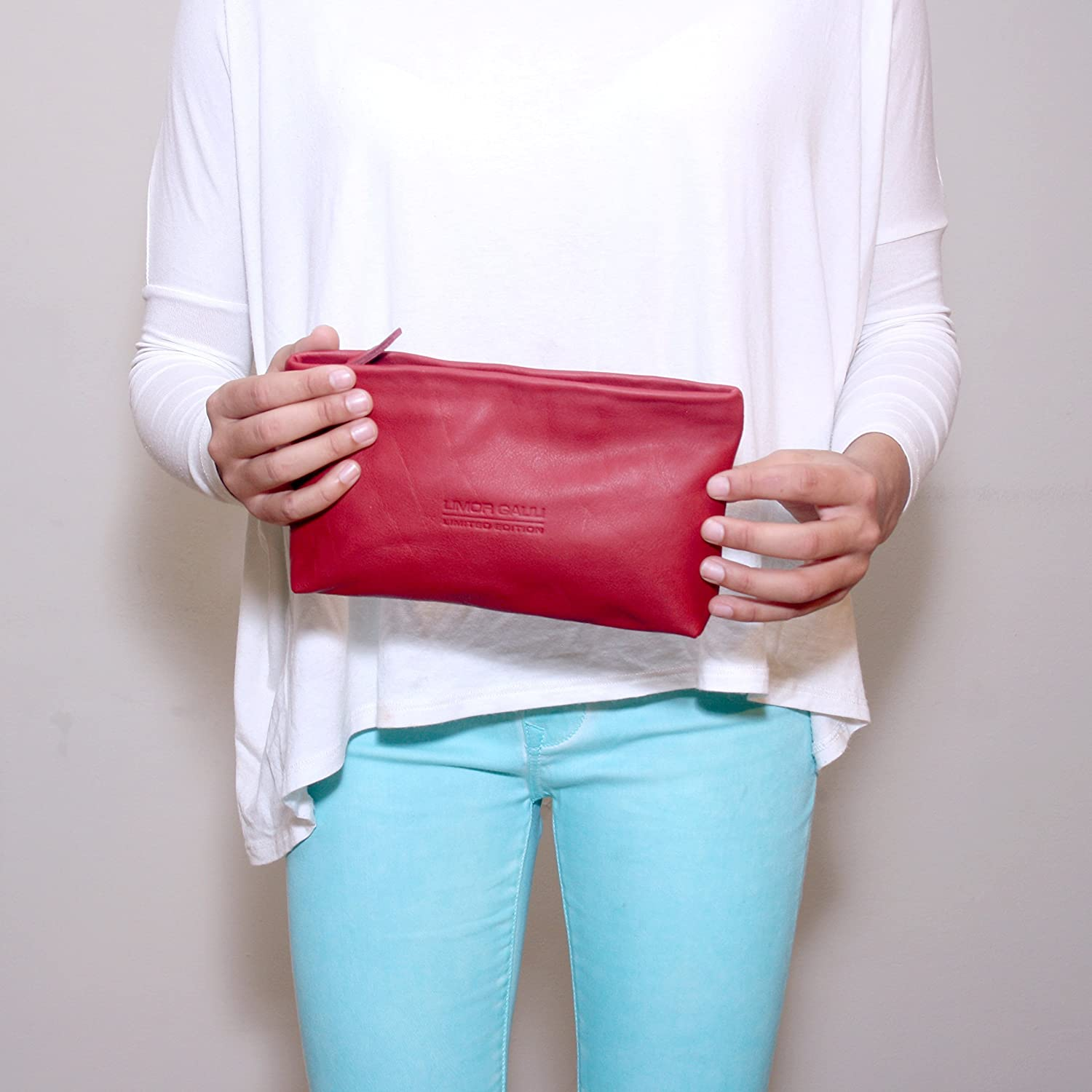 Soft Small Red Leather Pouch Makeup bag case women clutch zippered wallet purse cosmetic handbag