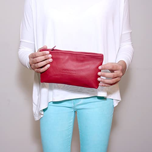 801b8fa55cad Amazon.com  Soft Small Red Leather Pouch Makeup bag case women clutch zippered  wallet purse cosmetic handbag  Handmade