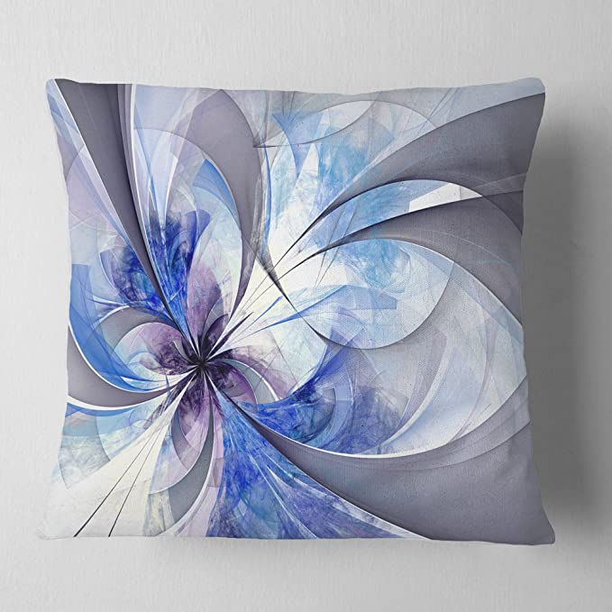 Designart Blue Large Symmetrical Fractal Flower Floral Throw Cushion Pillow Cover For Living Room Sofa 16 In X 16 In Arts Crafts Sewing