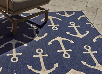 Gertmenian 21262 Nautical Tropical Outdoor Patio Rugs 5x7 Standard Navy Anchor
