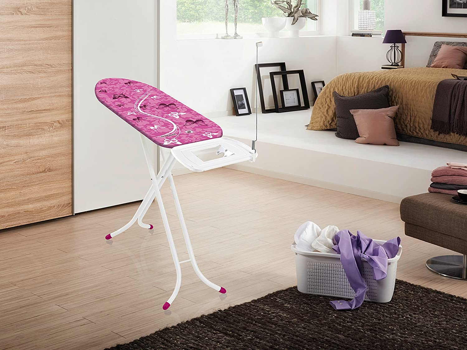Leifheit Air Board Express M Compact Ironing Board for Steam Generator Irons, Limited Edition, 120 x 38 cm - Crazy Pink Pink