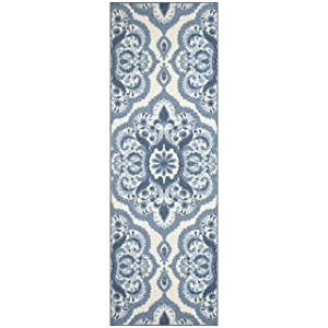 Maples Rugs Runner Rug - Vivian 2 x 6 Non Skid Hallway Carpet Entry Rugs Runners [Made in USA] for Kitchen and Entryway, 2' x 6', Blue