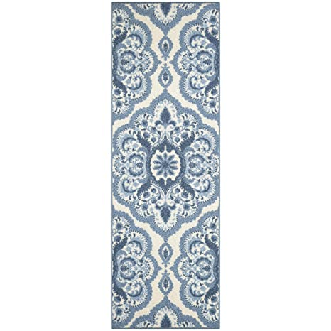 Maples Rugs Runner Rug - Vivian 2 x 6 Non Skid Hallway Carpet Entry Rugs  Runners [Made in USA] for Kitchen and Entryway, 2\' x 6\', Blue