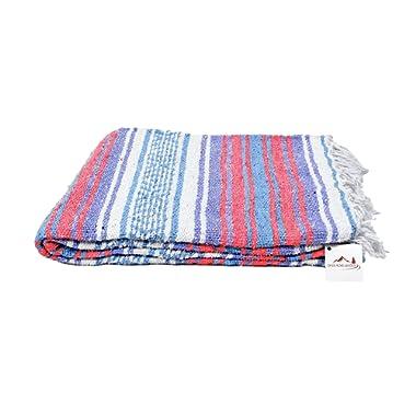 Open Road Goods Mexican Blanket - Pastel Vintage Boho Colors. Great Yoga Blanket, Beach Blanket, Picnic Blanket, or a Throw! Handmade