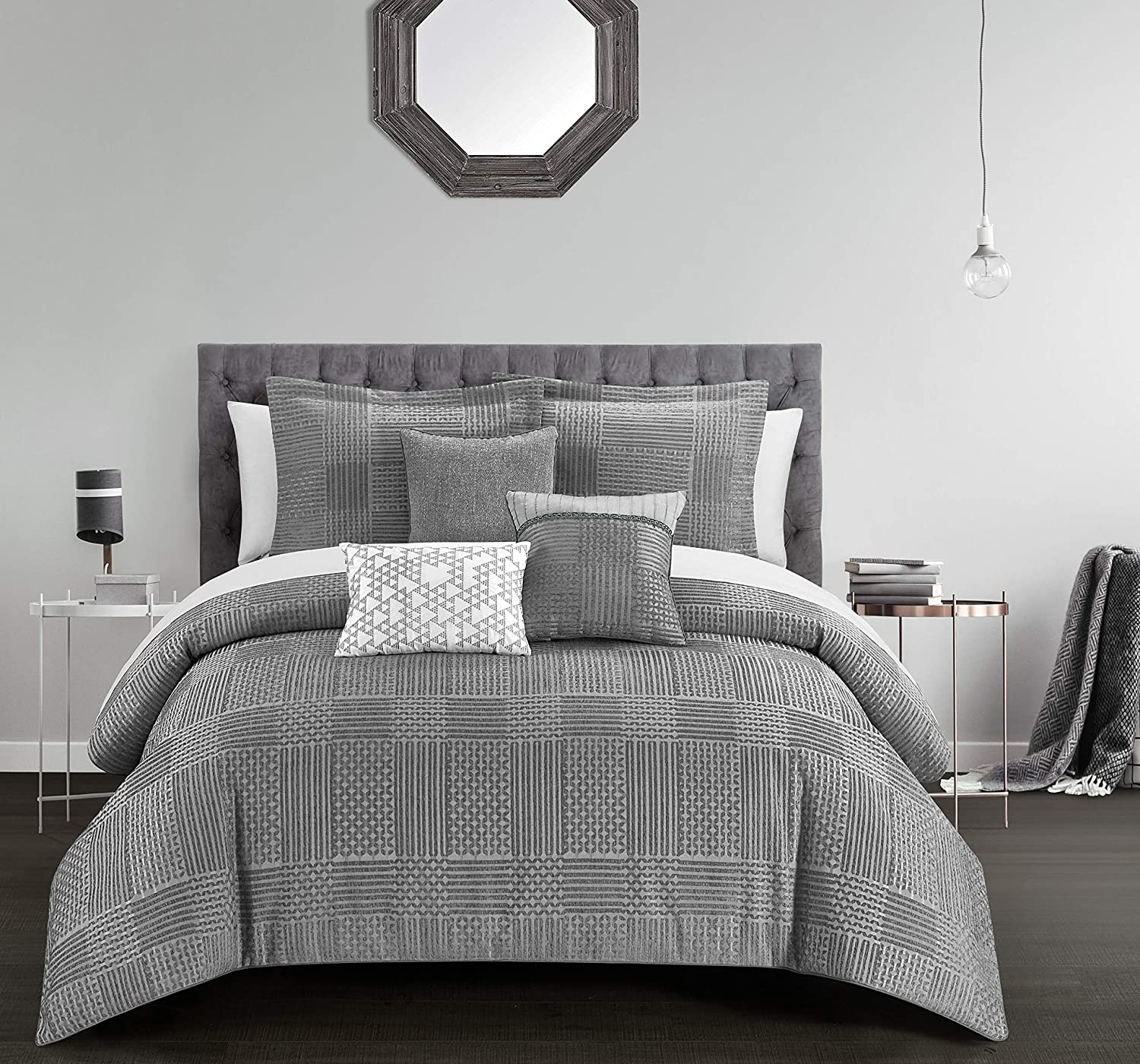 Chic Home Jodie 6 Piece Comforter Set Chenille Geometric Pattern Design Bedding - Decorative Pillows Shams Included, Queen, Grey