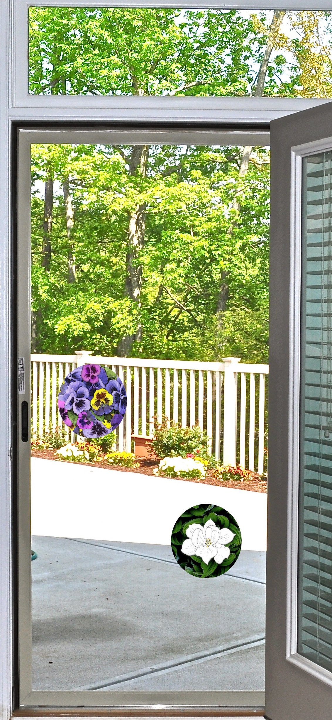 Glass Door & Window Repositionable Sticker Decal. 2 per package -Shower Doors, Alert Birds, Dogs, Kids, Guests. Warn, Protect, Safety, Removable, Self Adhesive, Bird Alert. (Rainbow Leaves)