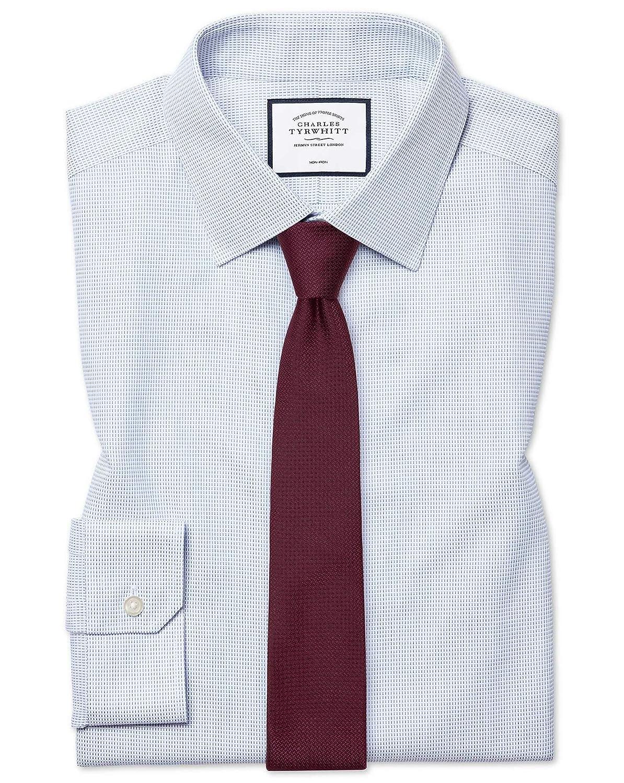 Chemise à Motif à Effet Tirets Bleue Super Slim Fit Sans Repassage   Bleu (Poignet Simple)   15.5   35