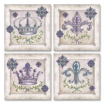 Amazon.com: Clásico antiguo púrpura, arlequín y Fleur De Lis ...