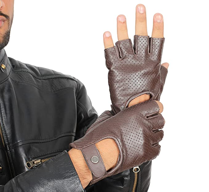 a3d44eddfceb0 Fingerless Riding Gloves For Men - Adult Motorcycle Brown Leather Gloves  (XS)