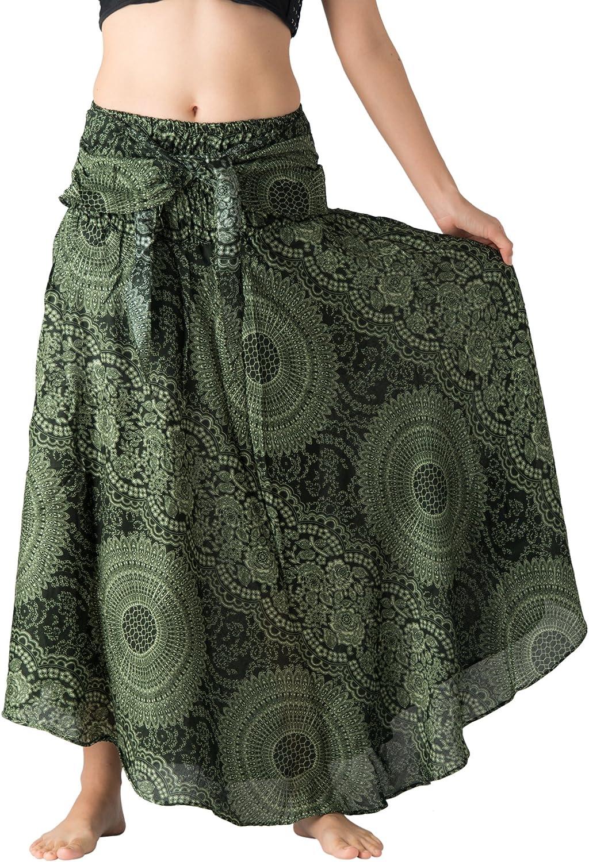 B BANGKOK PANTS Women's Long Maxi Skirt Hippie Bohemian Skirts Gypsy Dress Boho Clothing Party Beach Dress Asymmetric Hem