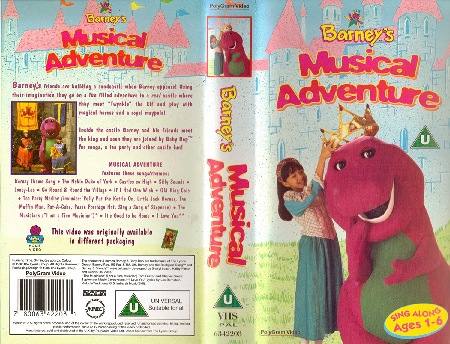 barney barney u0027s magical musical adventure vhs child amazon co