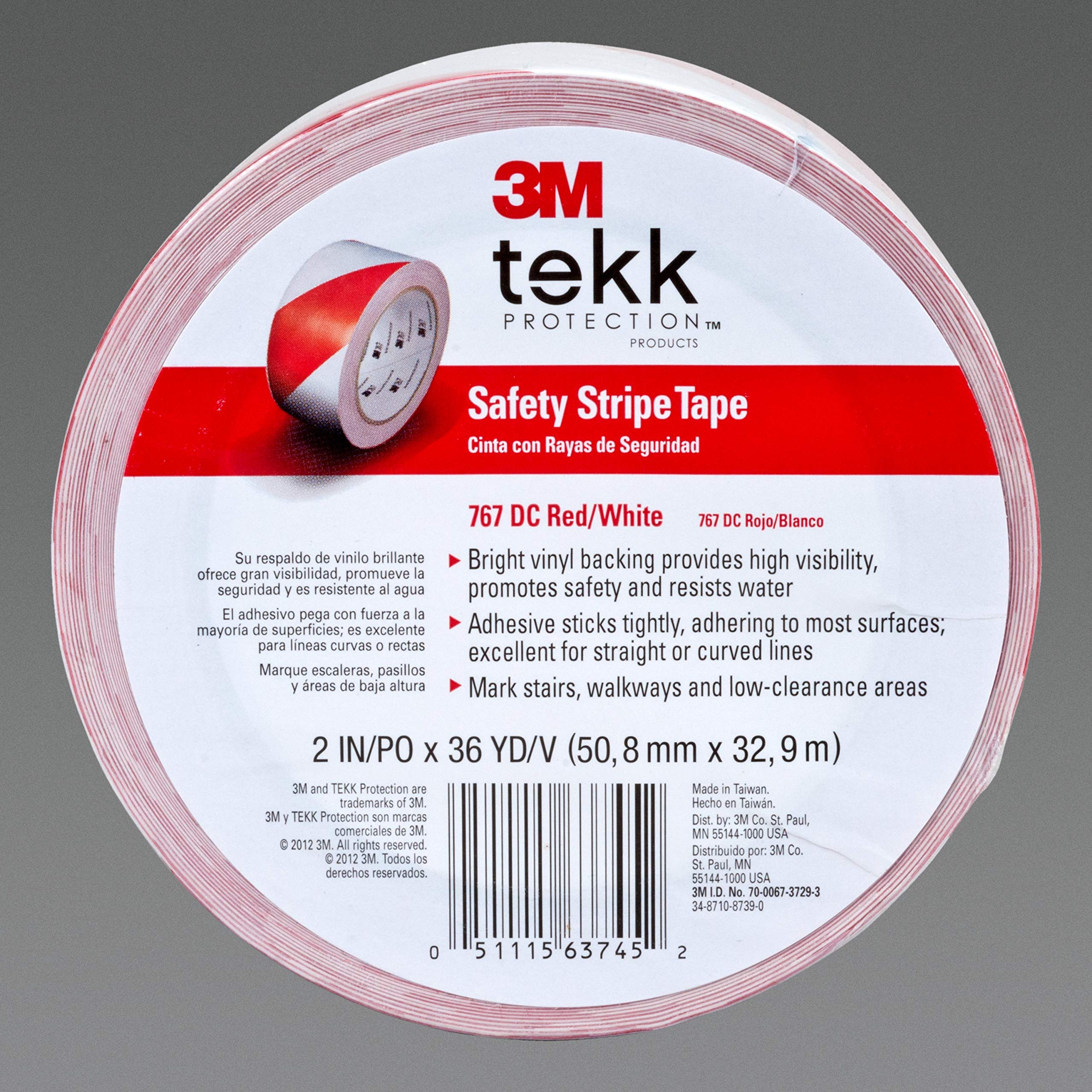 3M Safety Stripe Tape 767, DC Red/White 2 in x 36 yd, 5 mil