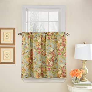 Waverly Tie Spring Bling Rod Pocket Curtains for Kitchen and Bathroom, Double Panel, 52