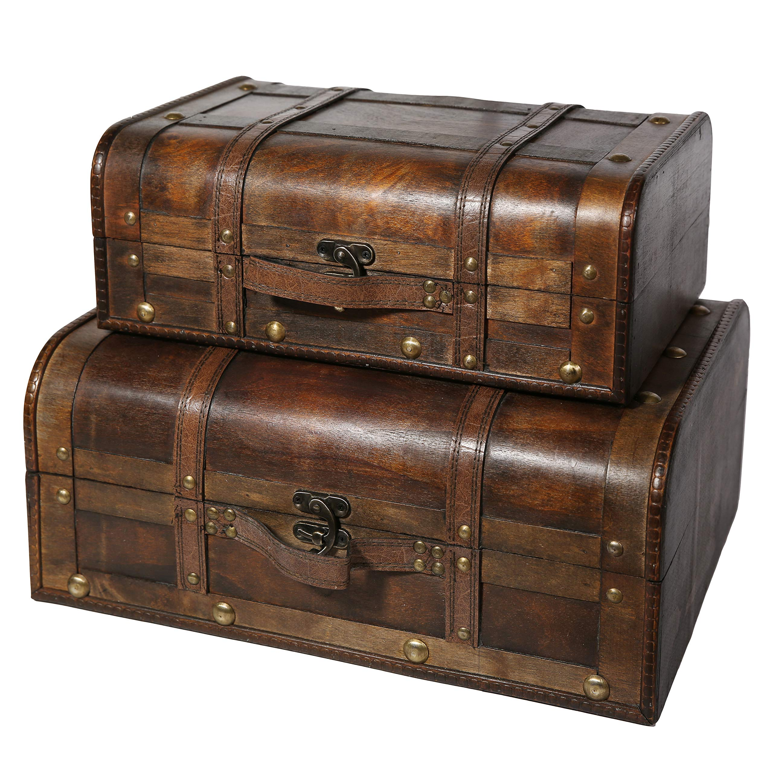 Soul & Lane Bentley Decorative Wooden Vintage Suitcases (Set of 2) | Storage Trunk Chest for Decoration Parties Decor by Soul & Lane