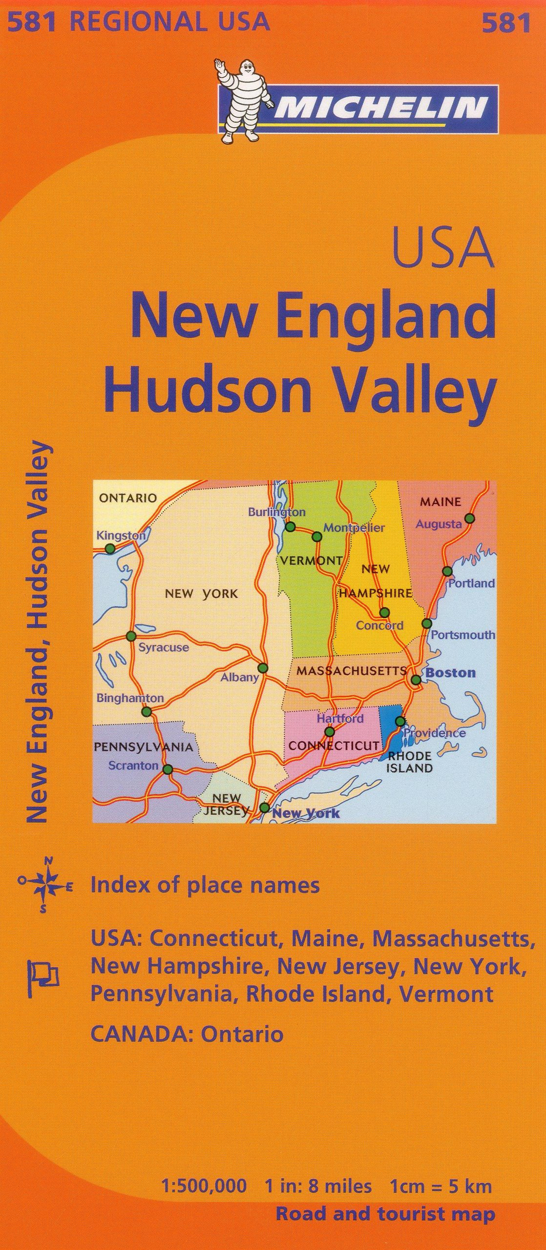 Michelin Usa: New England, Hudson Valley Map 581 Michelin Maps ...