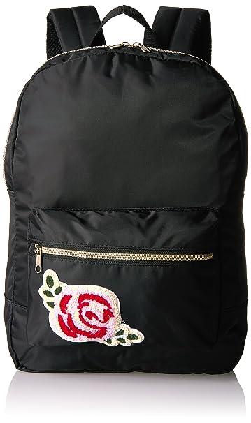 T-Shirt & Jeans11700416STK - Mochila de nylon con parche de rosas Mujer, negro