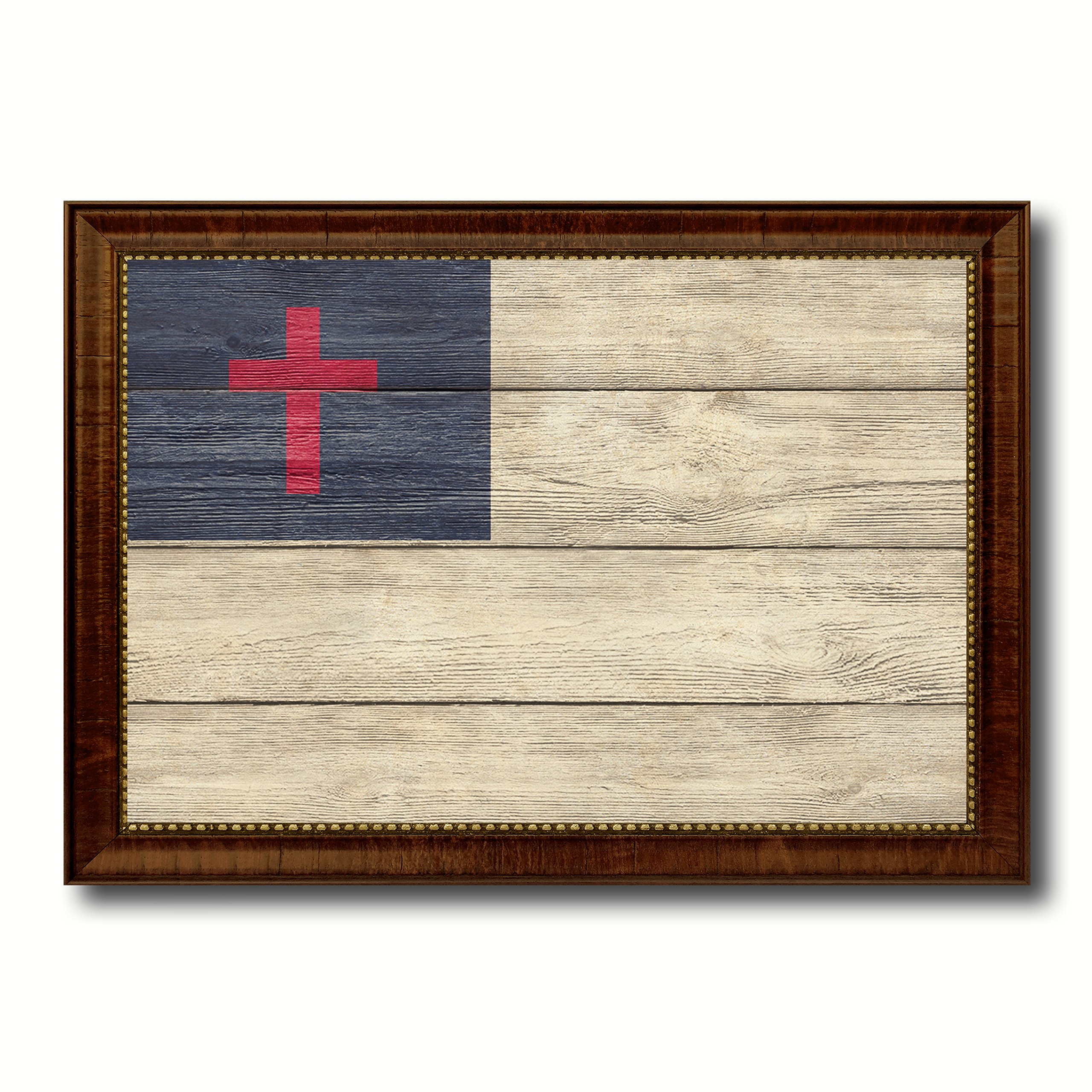Kayso Christian Religious Military Flag Texture Canvas Print Brown Picture Frame Home Decor Wall Art Decoration Gift Ideas Signs 27''X39''