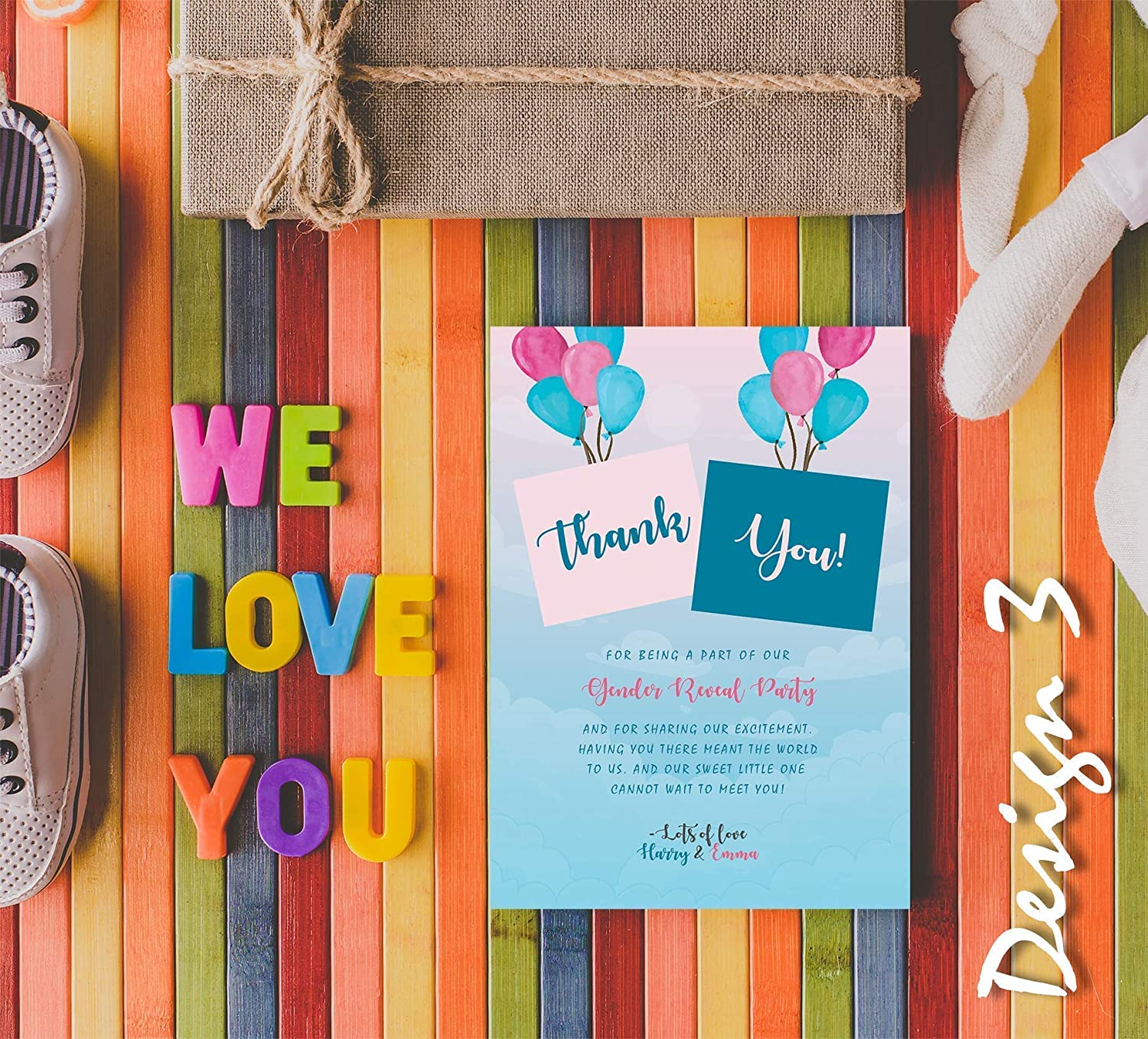 Personalised Baby Gender Reveal Party Invites /& Thank You Cards Boy or Girl Sky Balloon Theme