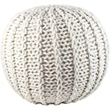 """GRAN Hand Knitted Cotton Pouf Footstool Ottoman 