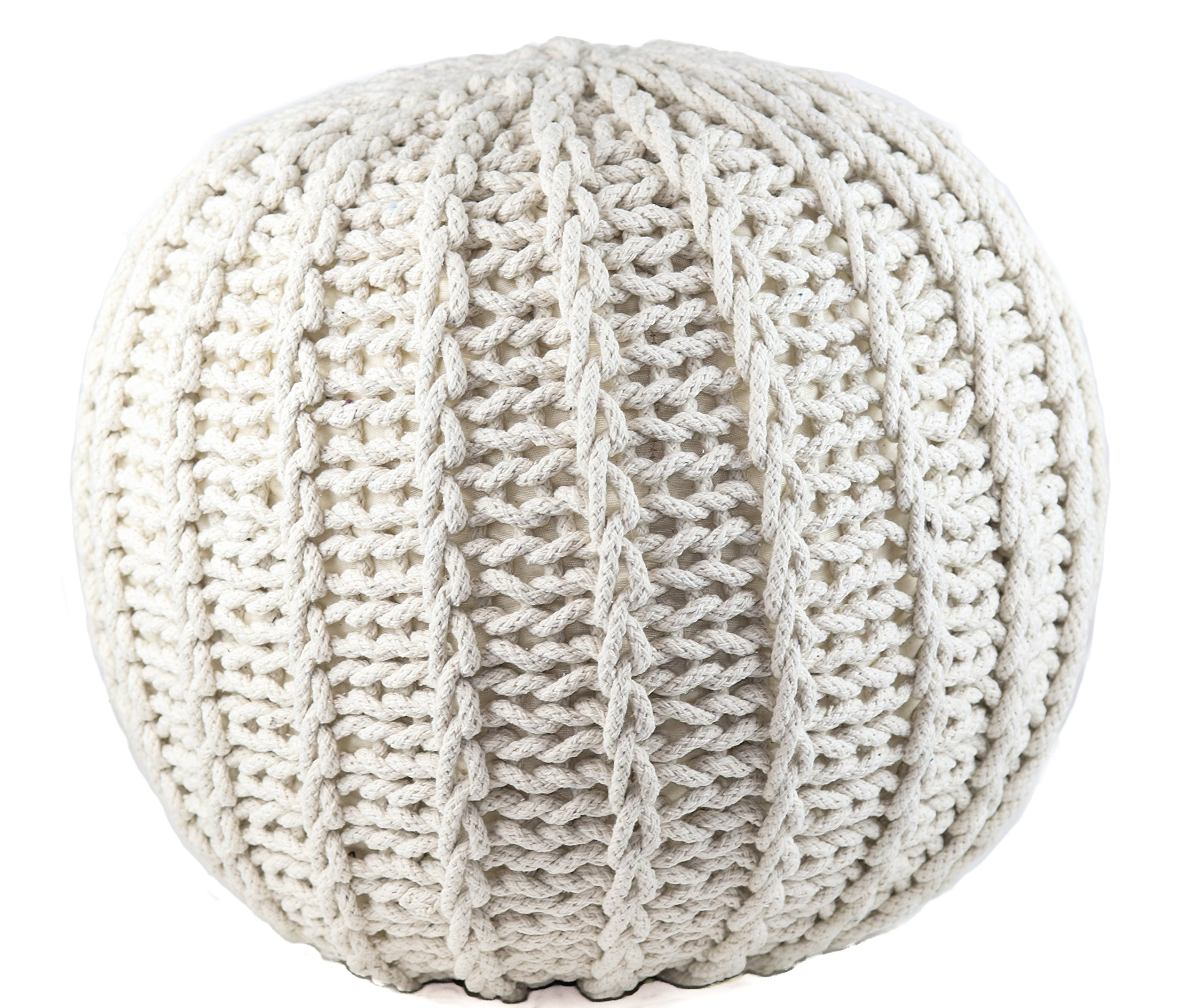 GRAN Cotton Pouf Ottoman Foot Stool & Rest - 18'' Diameter 14'' Height - White - Round Hand Knit Floor Footstool for Living Room, Bedroom and under Desk