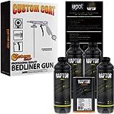 U-Pol Raptor Black Urethane Spray-On Truck Bed Liner 4 Quart Kit and Custom Coat Spray Gun with Regulator