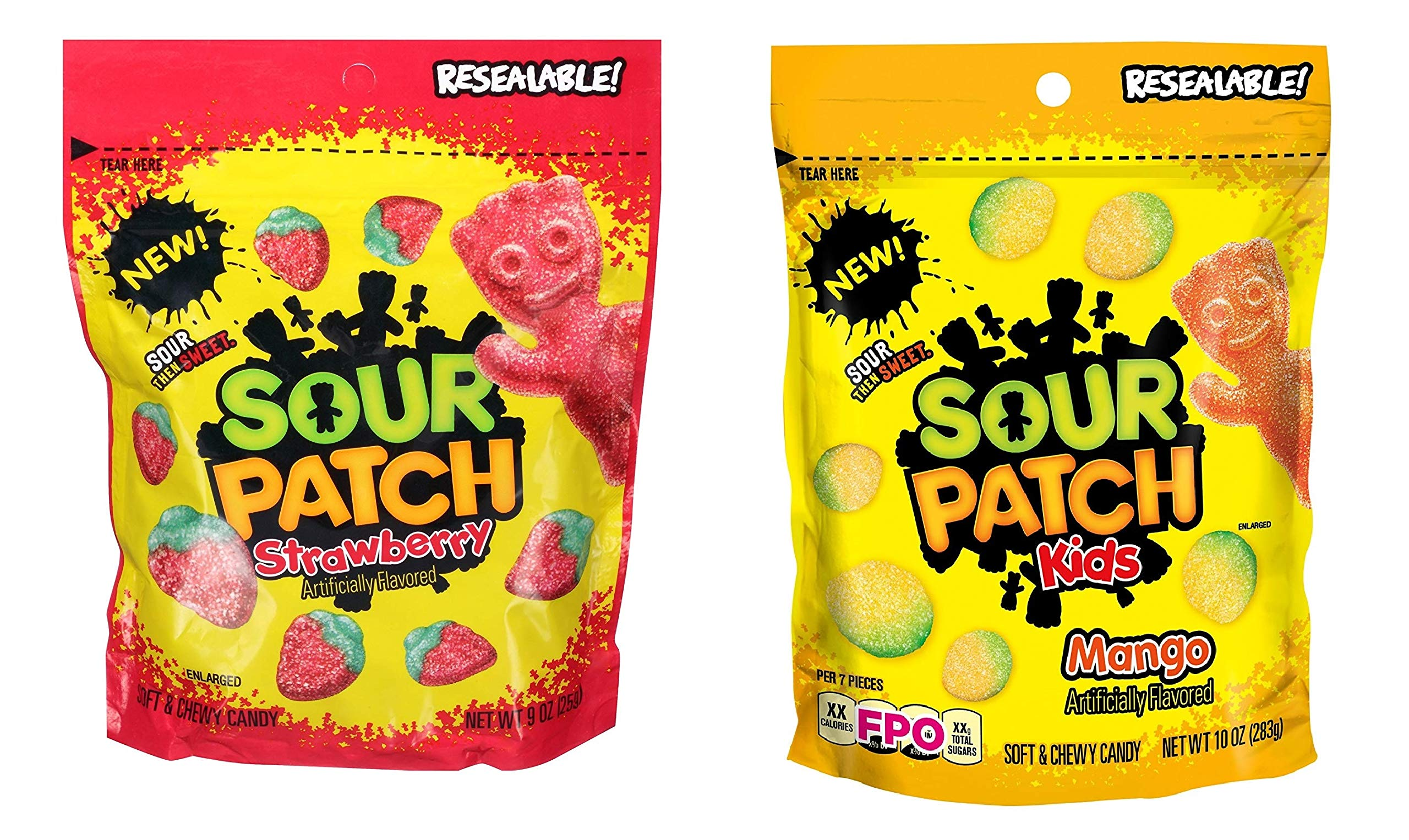 Sour Patch Kids Soft & Chewy Candy, 10 Ounce Bag - 2 Pack (Mango & Strawberry)