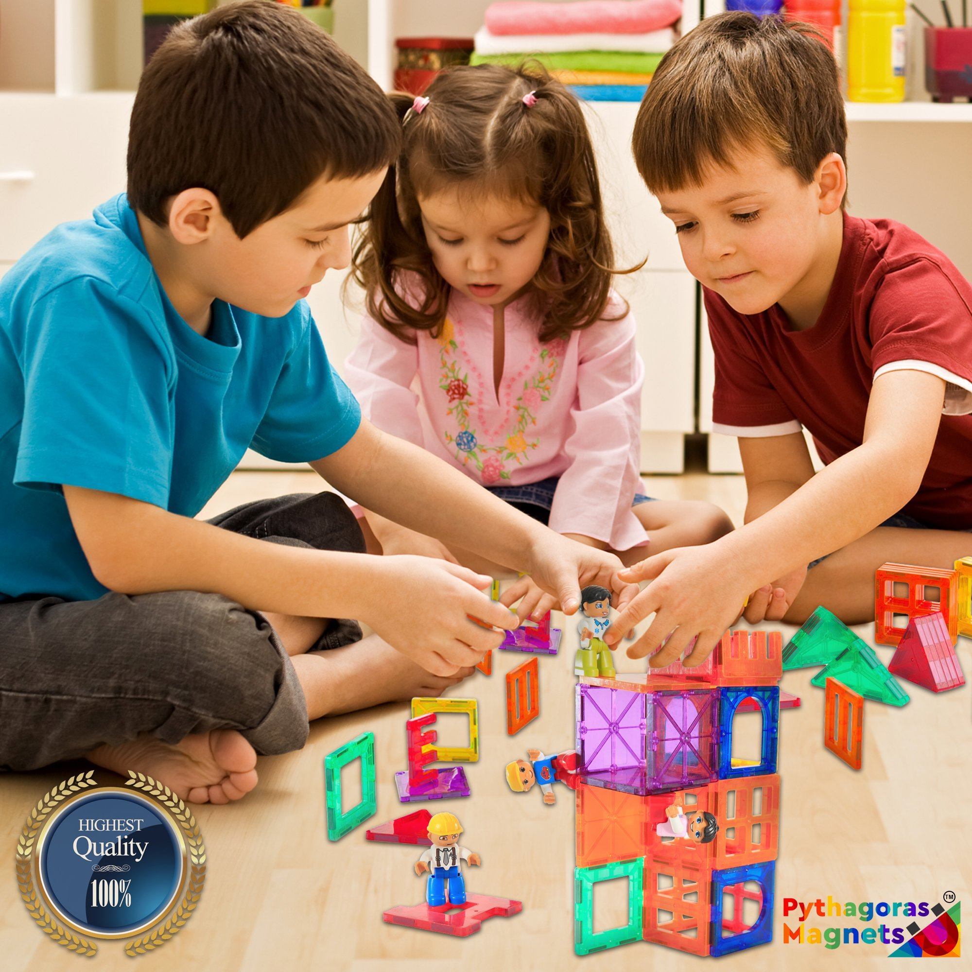 Magnetic Figures Set of 4 -Toddlers Action Toy People, Magnetic Tiles Expansion Pack for Boys and Girls - Banker Father Educational STEM Toys Add on Sets for Magnetic Blocks (3 Pack Banker Set) by Pythagoras Magnets (Image #4)
