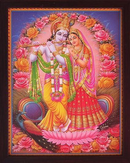 Amazoncom Handicraft Store Lord Radha Krishna Standing On Lotus