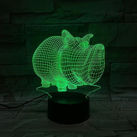 Amazon com: Gift Ideas Pig Night Lights 3D Illusion lamp Animal