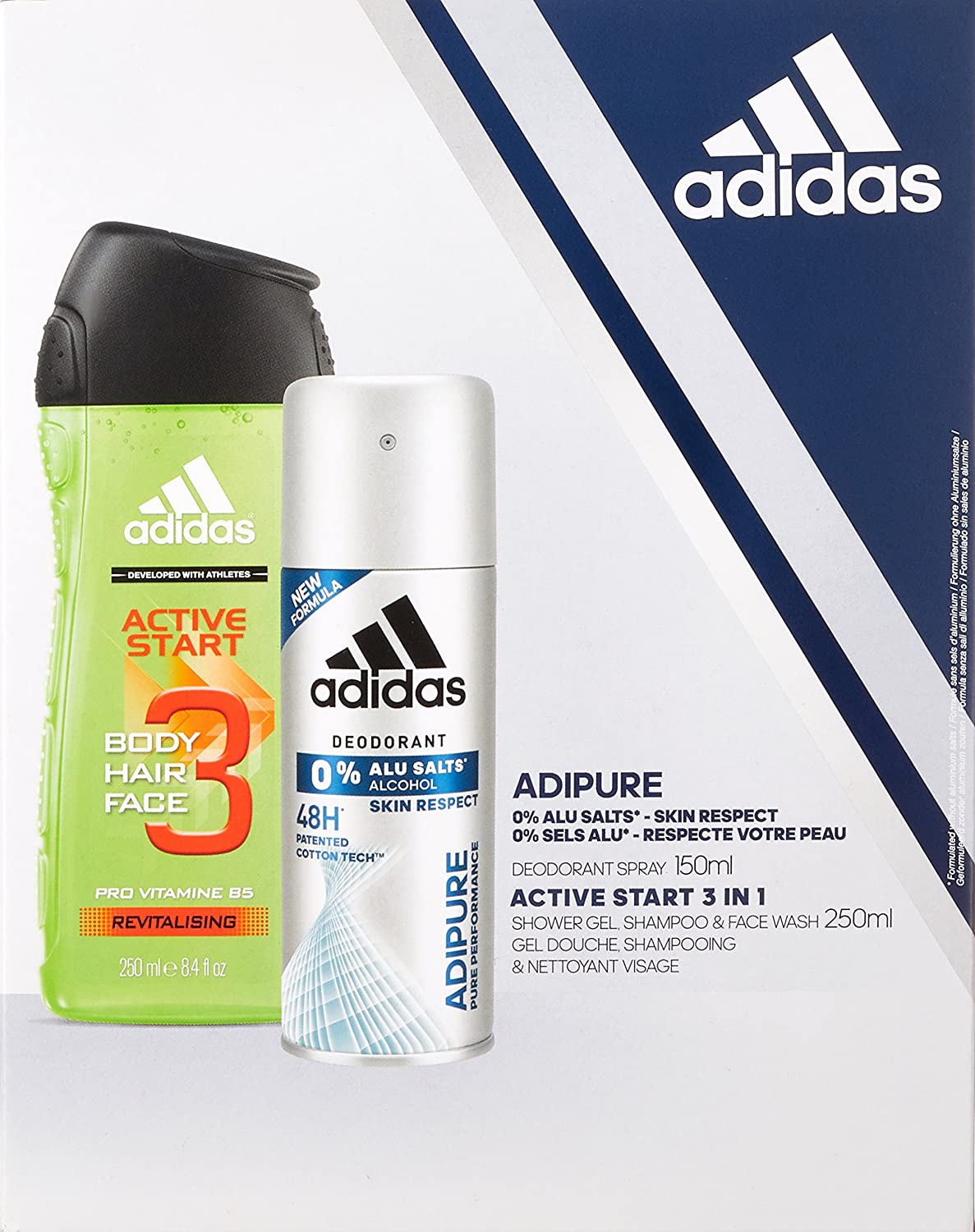 new arrival 7602e d2ff6 Adidas Active Start 250ml Body Hair Face Wash  Adipure 150ml Deodorant  Spray - Duo Gift Set for Men Amazon.co.uk Beauty